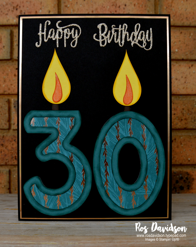 Stampin' Up!, 30th birthday card, joyous noel, glimmer paper, big shot, happy birthday thinlits, wink of stella