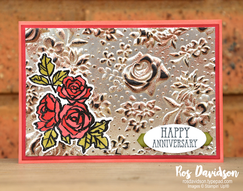Stampin up, saleabration, petal palette, well said, big shot, tarnished foil technique, country floral dynamic textured impressions embossing folder
