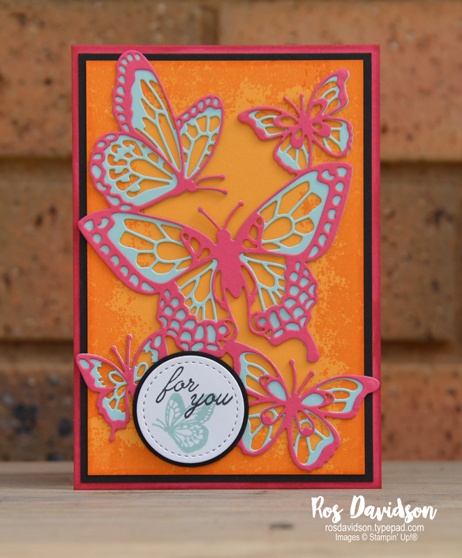 Stampin up, colour creations, blog hop, color coach, colour coach, Melbourne Australia, card ideas, melon mambo, timeless textures, butterfly abounds, big shot, stitched shape framelits, butterfly beauty thinlits dies