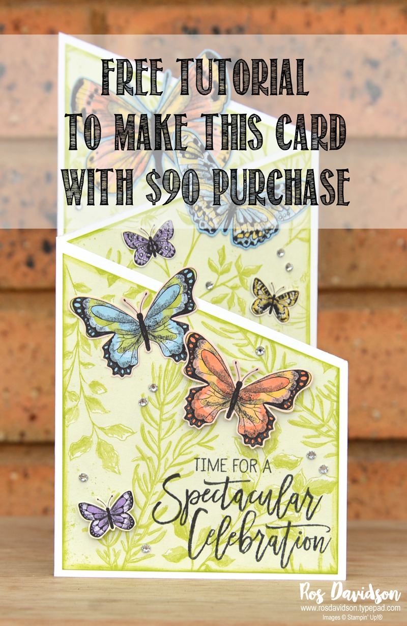 sale-a-bration, free card tutorial, tri fold card, Botanical Butterfly designer series paper, fussy cutting, butterfly duet punch, birthday cheer