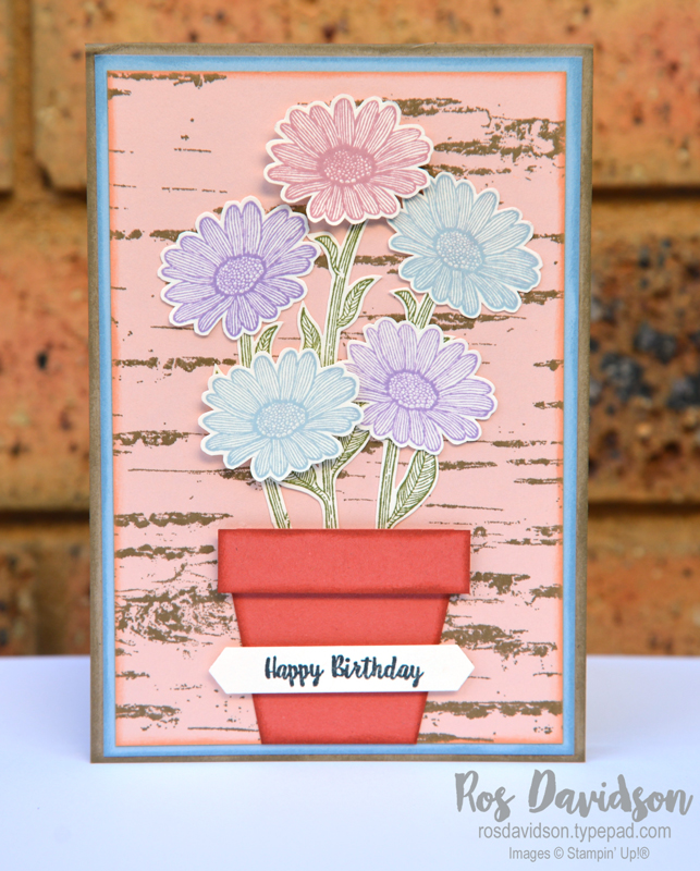 Stampin up, daisy lane bundle, birch stamp set, wonderful moments stamp set, painted glass, happy birthday card, flower pot, in colours, fussy cutting, blog hop
