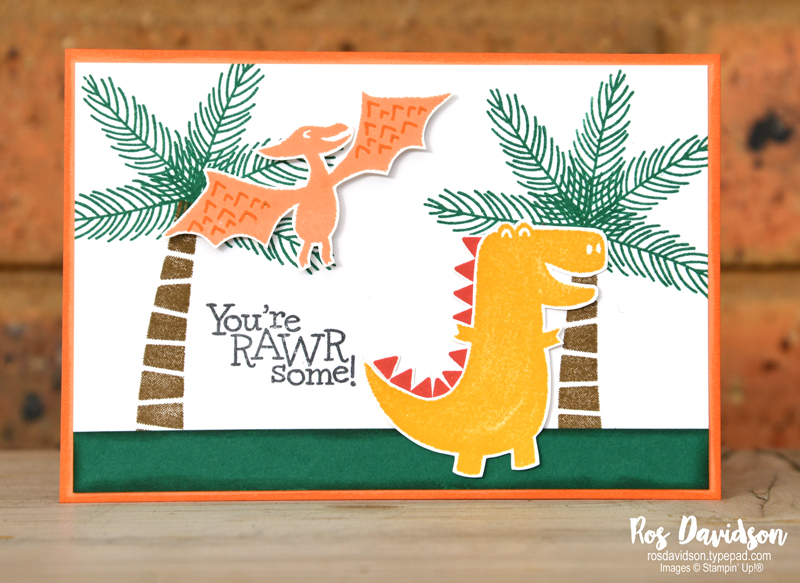 Stampin' Up!, blog hop, simple stamping, dino days, stepped up card, birthday card, kids card, kids birthday card
