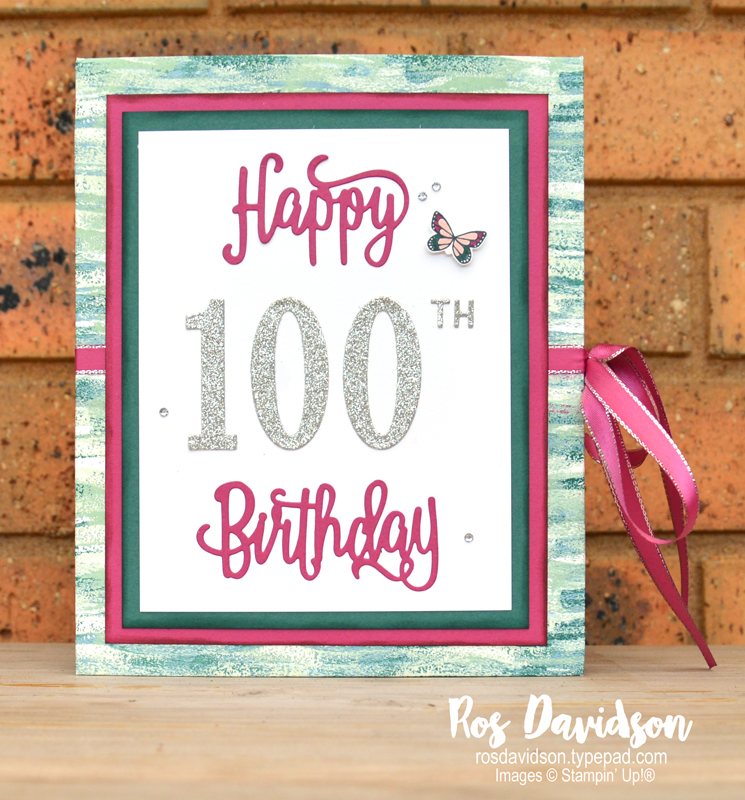 Stampin up, 100 birthday card, concertina card, tranquil textures designer series paper, tranquil tide, powder pink, berry burst, australia, butterfly gala, silver glimmer cardstock, big shot, happy birthday thinlits, large number framelits, little number thinlits