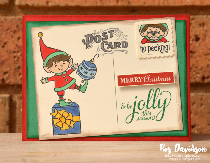 Stampin' Up!, elfie, stampin' blends, tips and tricks, christmas gleaming, fake postage stamp, fake post card, christmas card, card classes, south east melbourne,
