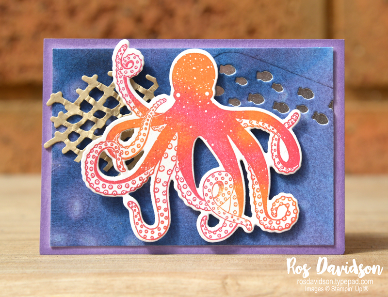 Stampin' Up!, sea of textures, under the sea, ATC, artist trading card, rice background technique, stamparatus