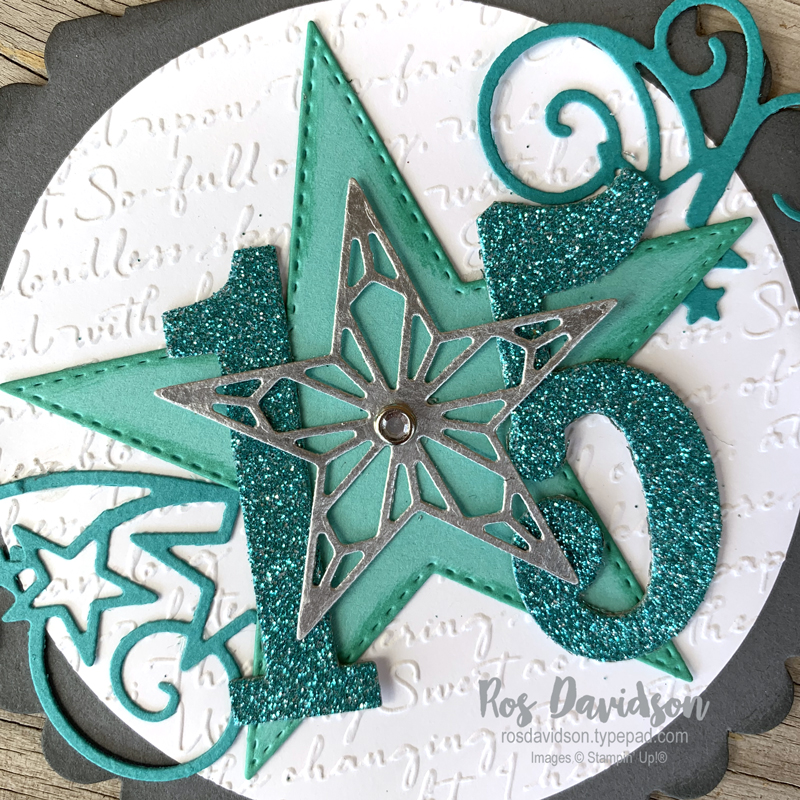 Stampin Up, shaped card, birthday card, 15, circle card, try it thursday, stitched star dies, large number framelits, layering circles, scripty 3D embossing folder,