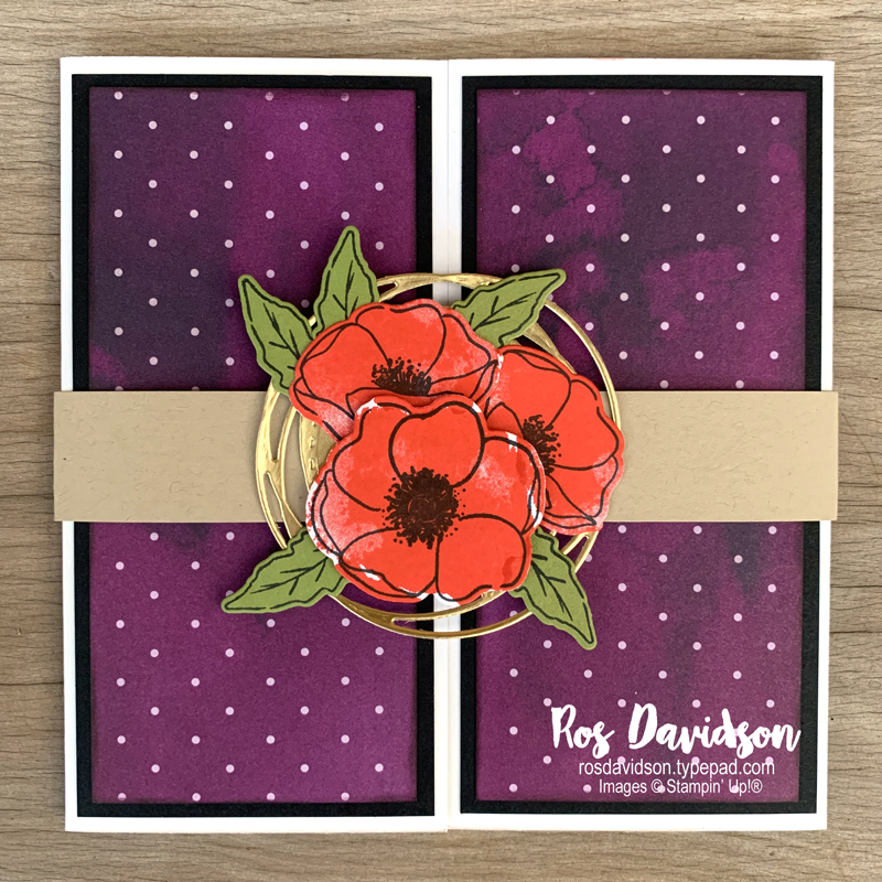 Stampin' Up!, painted poppies, pop out gate fold card, card classes, south eastern suburbs, skye, melbourne, peaceful poppies designer series paper, painted labels dies, stampin' blends