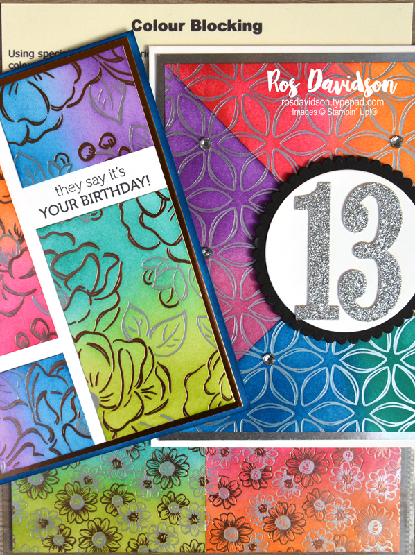 Stampin' Up!, colour blocking, techniques class, sale-a-bration, itty bitty birthdays, 13, birthday card, flowering foils DSP