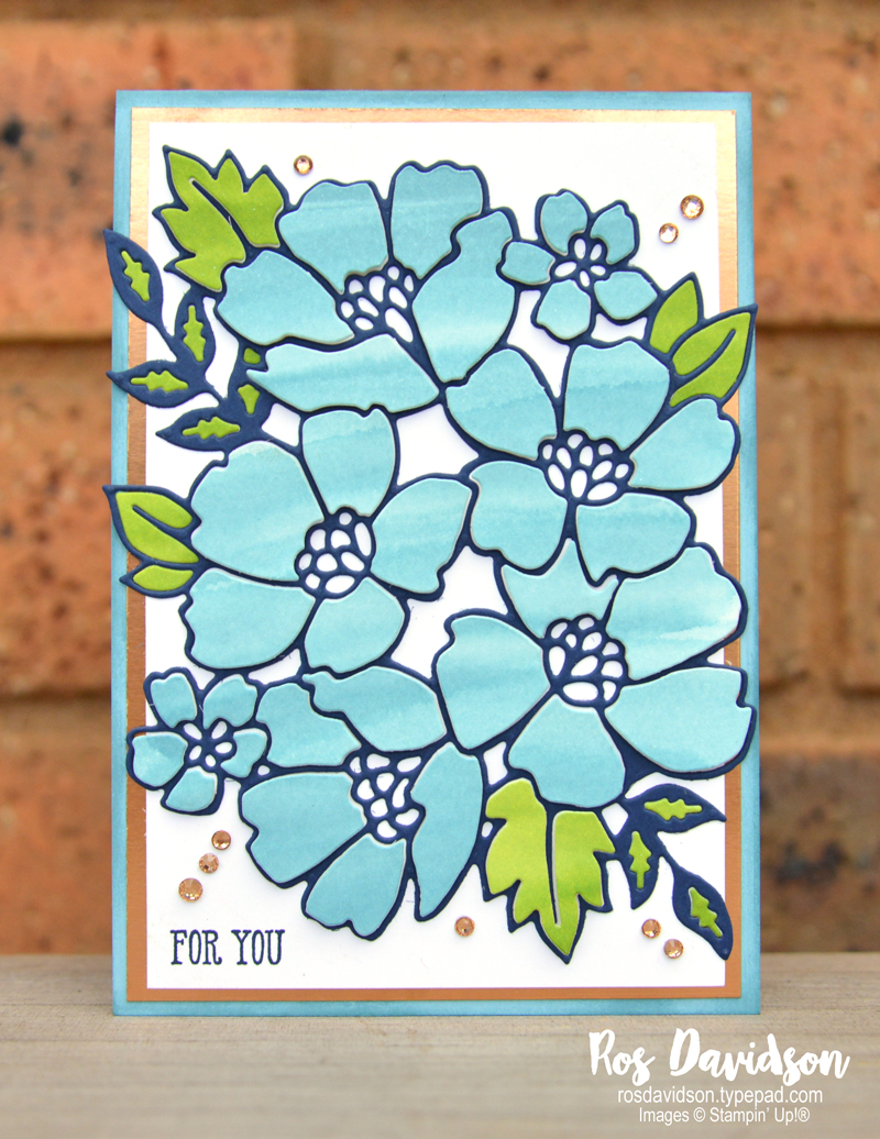 Stampin' Up, Colour Creations, Color Creations, Blog Hop, balmy blue, well said, many layered blossoms dies, inlaid embossing technique, for you card
