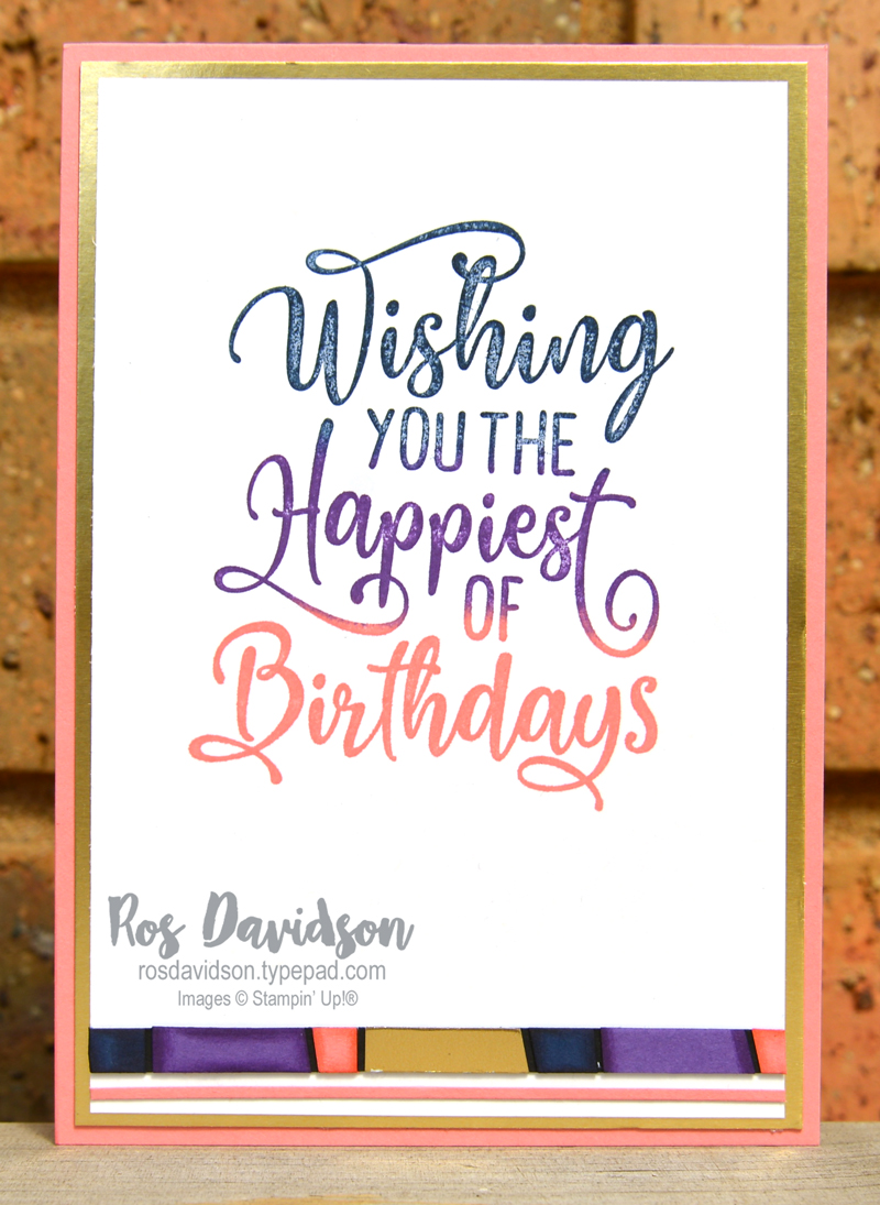 Stampin' Up, Colour Creations, Color Creations, Blog Hop, card, flirty flamingo, scrappy strip technique, mosaic technique, happiest of birthdays, best year, faux resin dots, heat embossing