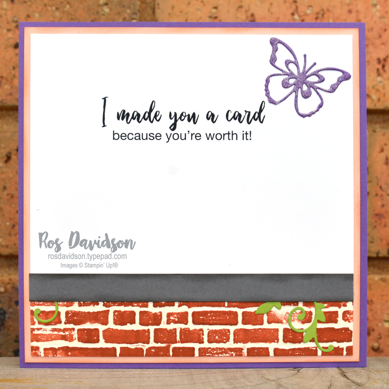 Stampin' Up, Colour Creations, Color Creations, Blog Hop, card, gorgeous grape, many mates, here's a card, for you card, butterfly beauty, brick & mortar 3D embossing folder, stampin' cut emboss machine