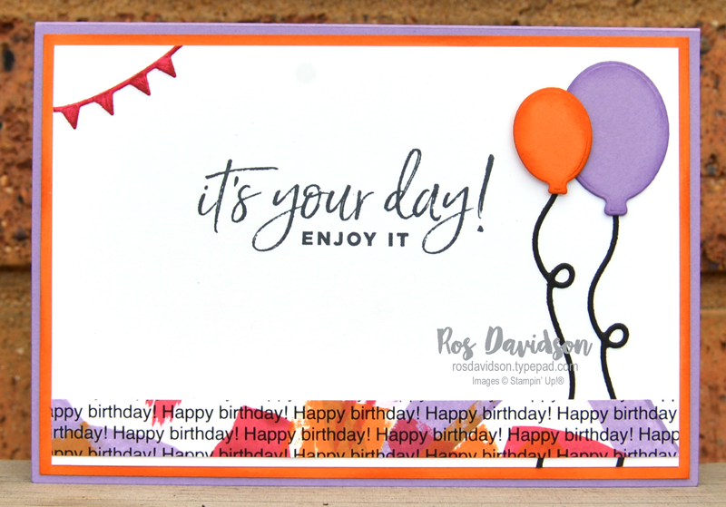 Stampin' Up, Colour Creations, Color Creations, Blog Hop, card, highland heather, adhesive sheets, happiest of birthdays, playful alphabet, ink swiping, printed background, ink refill technique, happy dies