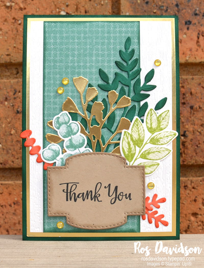 Stampin' Up, Colour Creations, Color Creations, Blog Hop, card, Just Jade, forever fern, forever flourishing dies, flowers for every season DSP, peaceful moments and massive thanks, subtle embossing folder, stampin cut and emboss, faux resin dots, thank you card