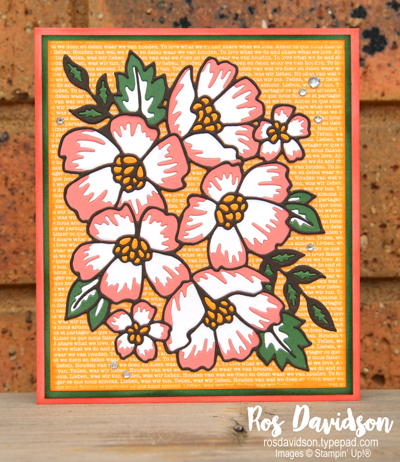 Stampin' Up, Colour Creations, Color Creations, Blog Hop, card, mango melody, no stamping card, blank card/no sentiment, many layered blossoms die, brights dsp, stampin' cut and emboss, inlaid die cutting,