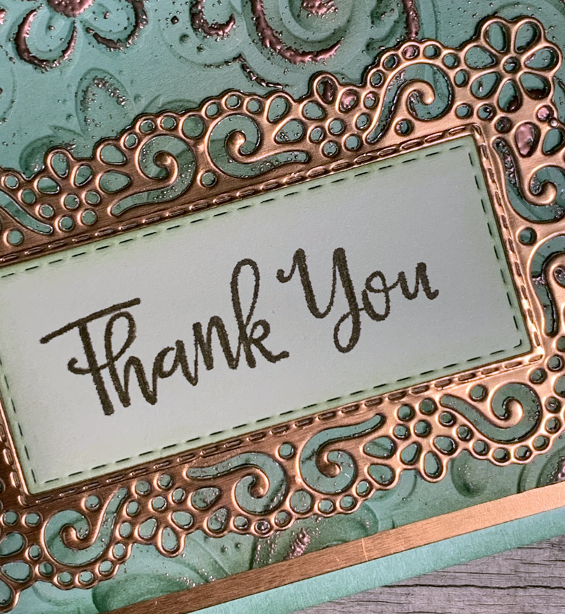 Stampin' Up! faux patina thank you card featuring the Parisian Flourish 3D embossing folder. 2020 card by Ros Davidson Stampin Up demonstrator Melbourne, Australia.