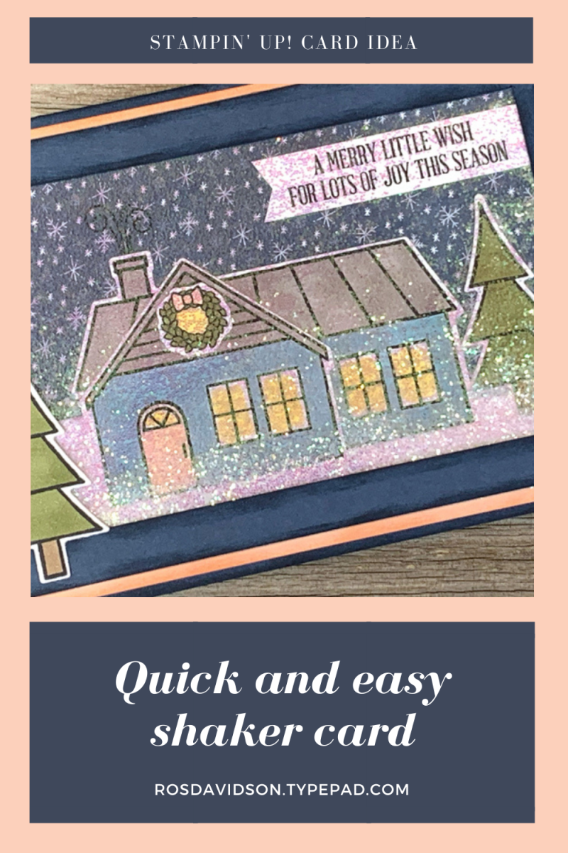 Stampin' Up! coming home Christmas shaker card using a wish for everything stamp set. 2020 card by Ros Davidson, Stampin' Up! demonstrator Melbourne Australia.