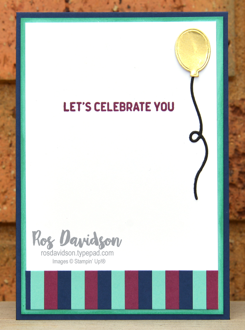 Stampin' Up! striped background card using itty bitty birthdays stamp set. 2021 card by Ros Davidson, Stampin' Up! demonstrator Melbourne Australia.