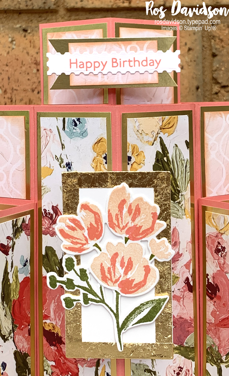 Stampin' Up! layered cube card using the fine art floral suite. 2021 card by Ros Davidson, Stampin' Up! demonstrator Melbourne Australia.