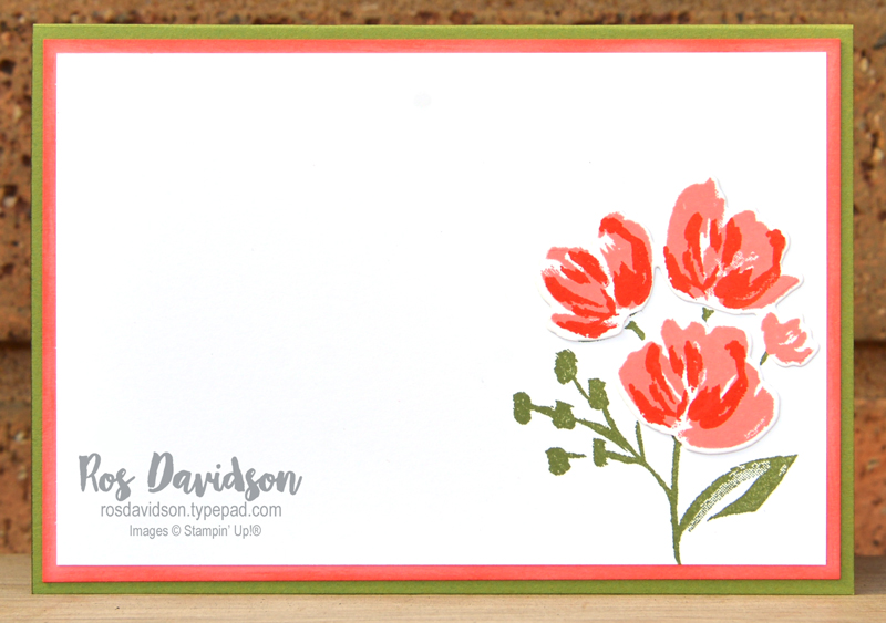 Stampin' Up! just want to say card using the fine art floral suite and paper blooms designer series paper. 2021 card by Ros Davidson Stampin Up demonstrator Melbourne, Australia.