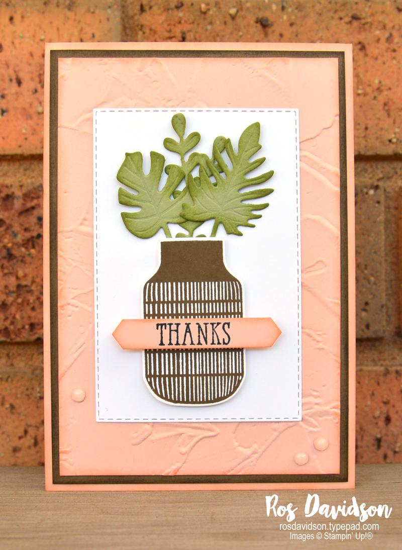 Boho indigo petal pink thank you card Stampin Up