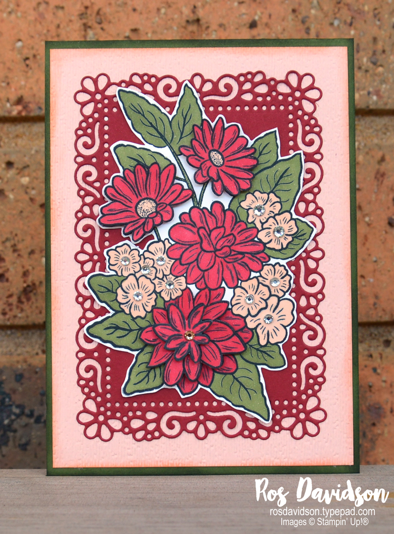 Stampin' Up, Colour Creations, Color Creations, Blog Hop, cherry cobbler, stampin blends, blank cards, fussy cutting, paper toile, ornate style