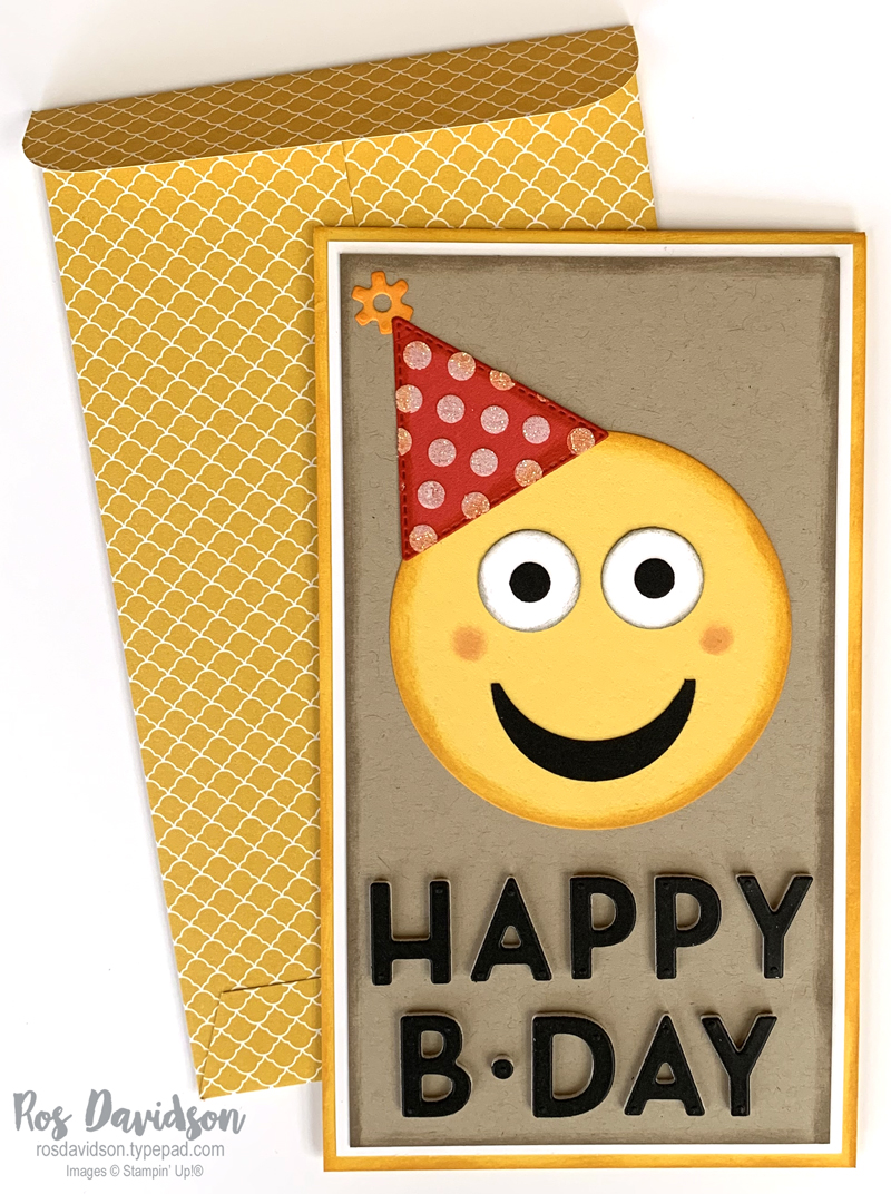 Custom envelope, designer series paper, stampin' up, slimline card, emoji card, daffodil delight card
