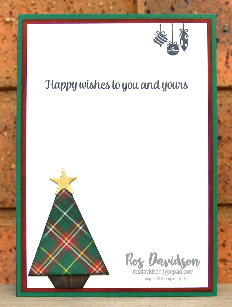 Stampin' Up!, making merry monday, peace and joy, joy dies, tree angle, christmas card, origami, plaid tidings DSP
