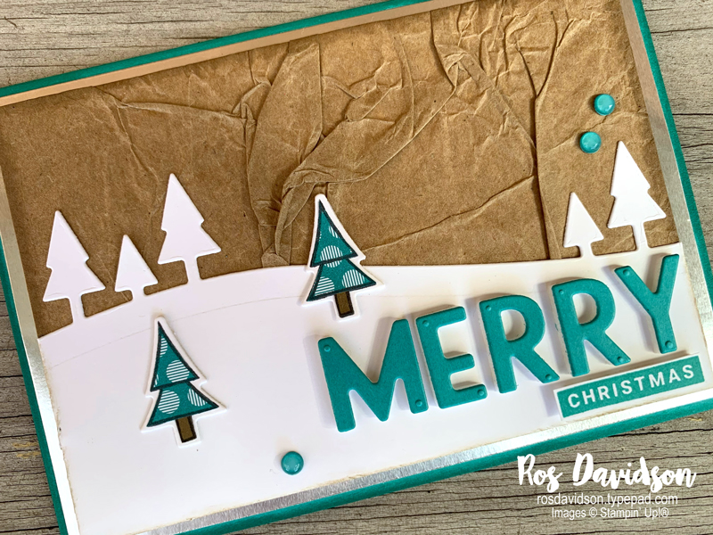 Stampin' Up!, christmas card, making merry monday, coming home, home together dies, playful alphabet, brights designer series paper, faux silk technique, faux resin dots, bermuda bay, fussy cutting, stampin' cut and emboss machine