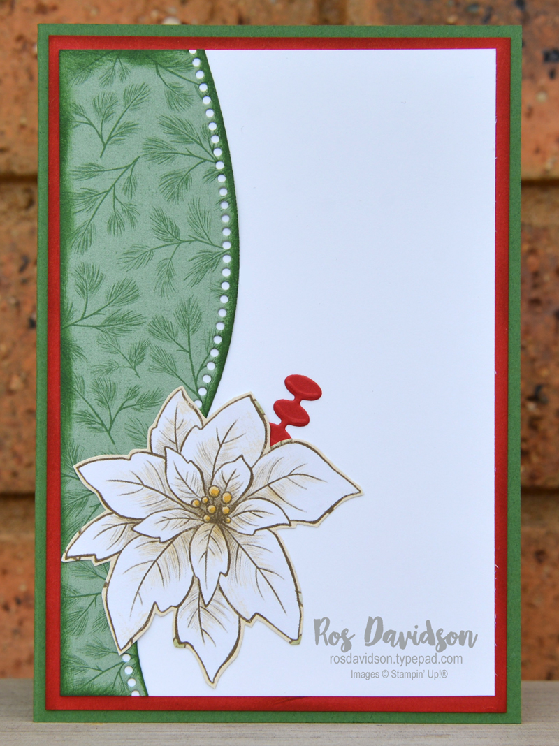 Stampin' Up! curvy edge poinsettia Christmas card using the poinsettia place DSP and curvy edge dies. 2020 card by Ros Davidson, Stampin' Up! demonstrator Melbourne Australia.
