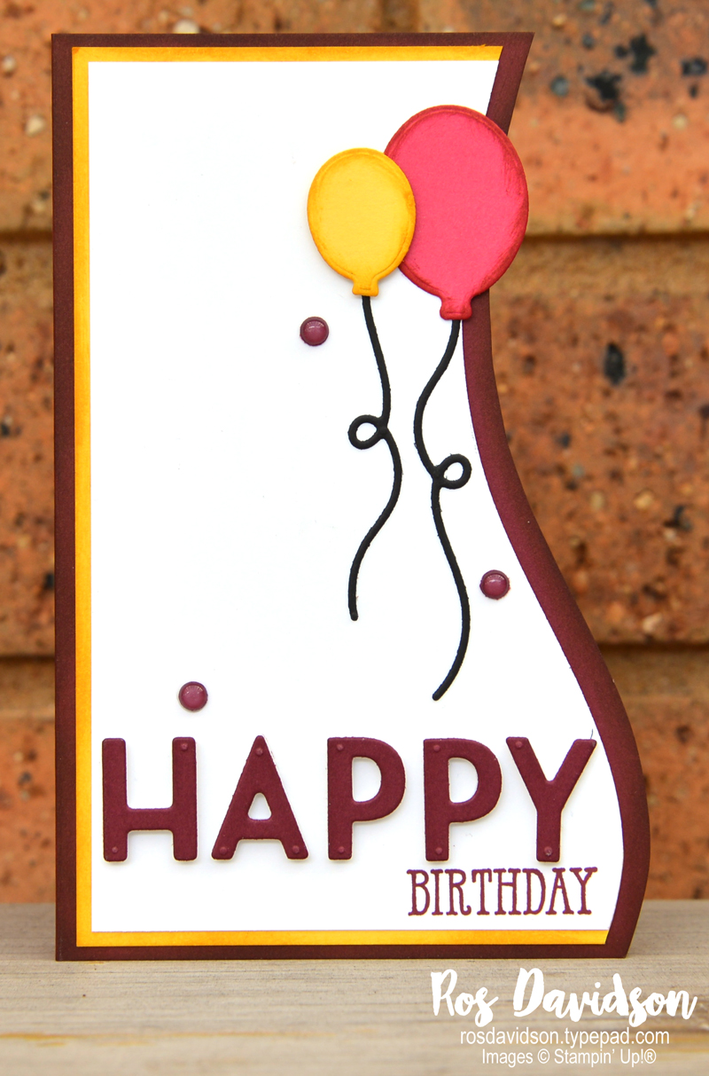 Stampin' Up! bright and fun curvy edge birthday card using curvy dies and happy dies with playful alphabet dies. 2020 card by Ros Davidson, Stampin' Up! demonstrator Melbourne Australia.