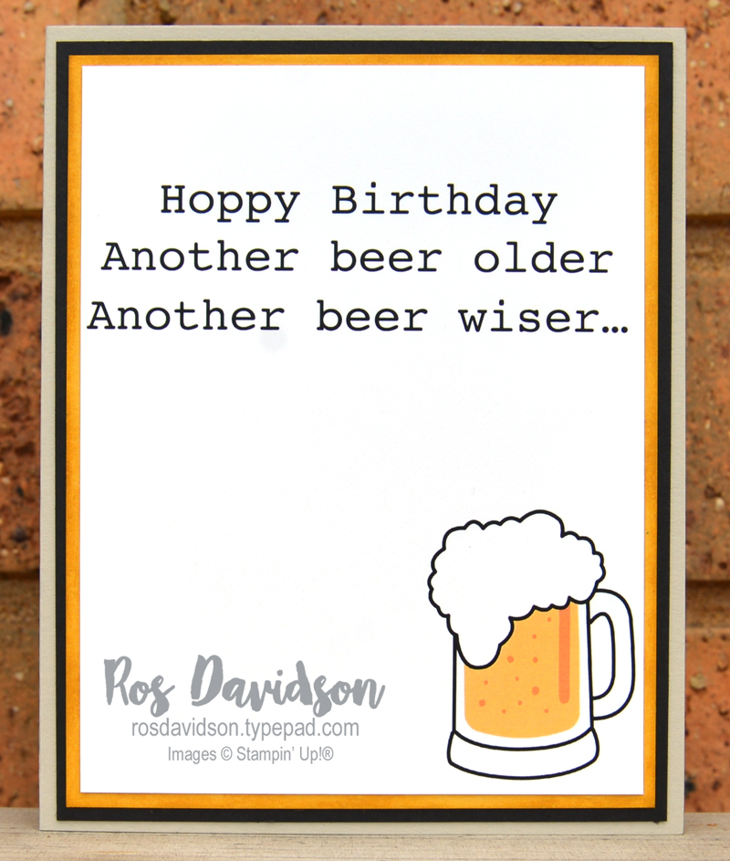 no stamp stampin beer mug birthday card