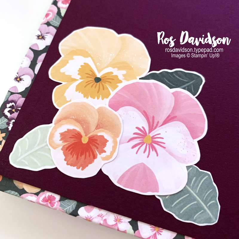 Stampin Up 90th Birthday Concertina Card with Pansy Petals DSP. 2021 card by Ros Davidson Stampin Up demonstrator Melbourne, Australia.