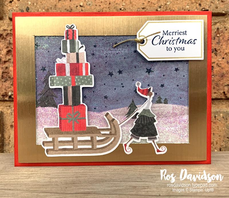 Stampin' Up! | Shaker card | Christmas whimsy card kit | Christmas card | card by Ros Davidson, Stampin' Up! demonstrator Melbourne Australia