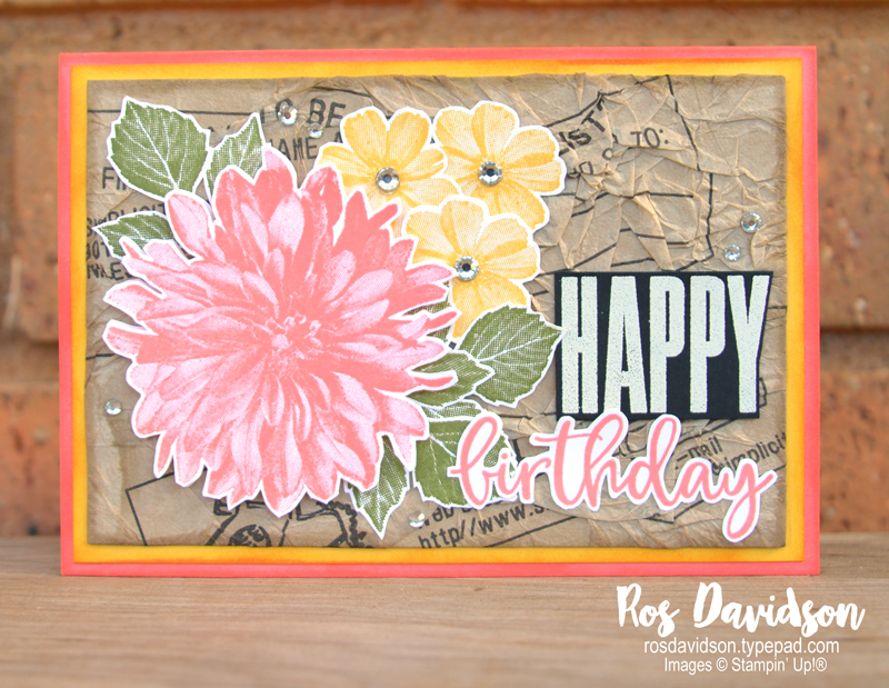 Stampin' Up! | Birthday card | Delicate dahlias | Sale-a-bration 2021 | card by Ros Davidson, Stampin' Up! demonstrator Melbourne Australia