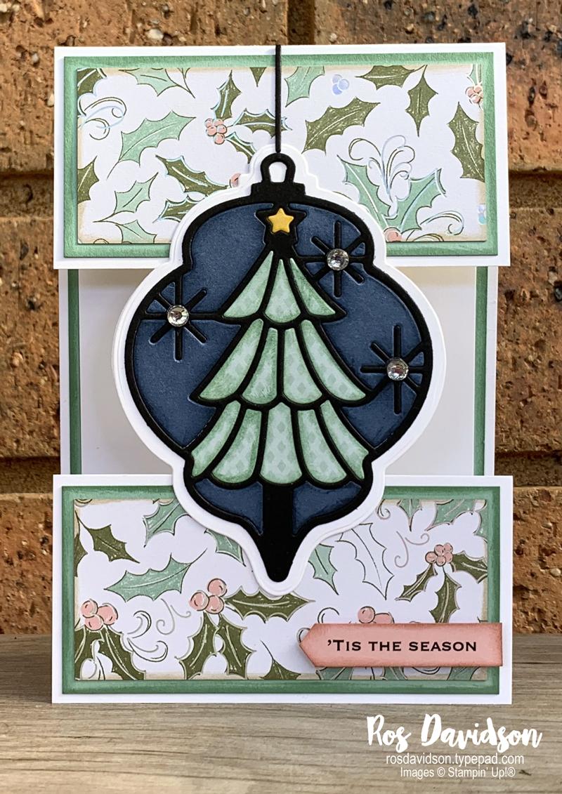 Stampin' Up! | Delicate Baubles Split Card | Christmas card | card by Ros Davidson, Stampin' Up! demonstrator Melbourne Australia
