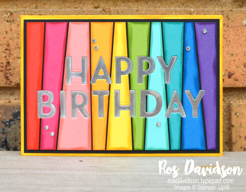 Stampin' Up!, art with heart, blog hop, rainbow, birthday card, happiest of birthdays, scrappy strip technique, playful alphabet, inlaid technique