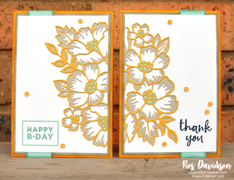 Stampin' Up, Colour Creations, Color Creations, Blog Hop, crushed curry, split card front technique, split card technique, inlaid die embossing, many layered blossoms die, thank you card, birthday card, massive thanks stamp set, happiest of birthdays stamp set, faux resin dots, playing with patterns DSP