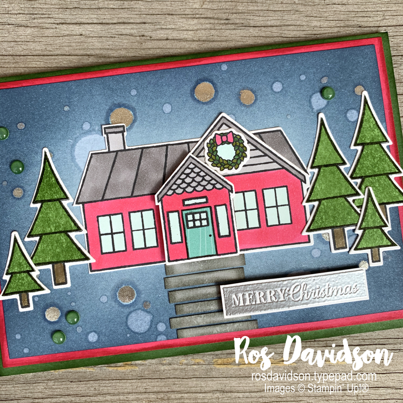 Stampin' Up, Colour Creations, Color Creations, Blog Hop, card, garden green, coming home, tree angle, christmas gleaming, faux resin dots, stampin blends, stamping write markers, brights designer series paper, wink of stella, heat embossing, sponge blending