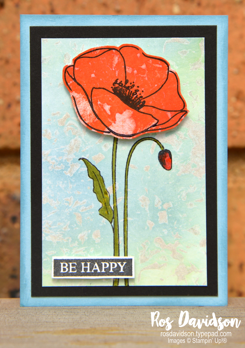 Stampin' Up!, technique, faux mother of pearl, painted poppies, atc, artist trading card, rooted in nature, fussy cutting, stampin' blends,