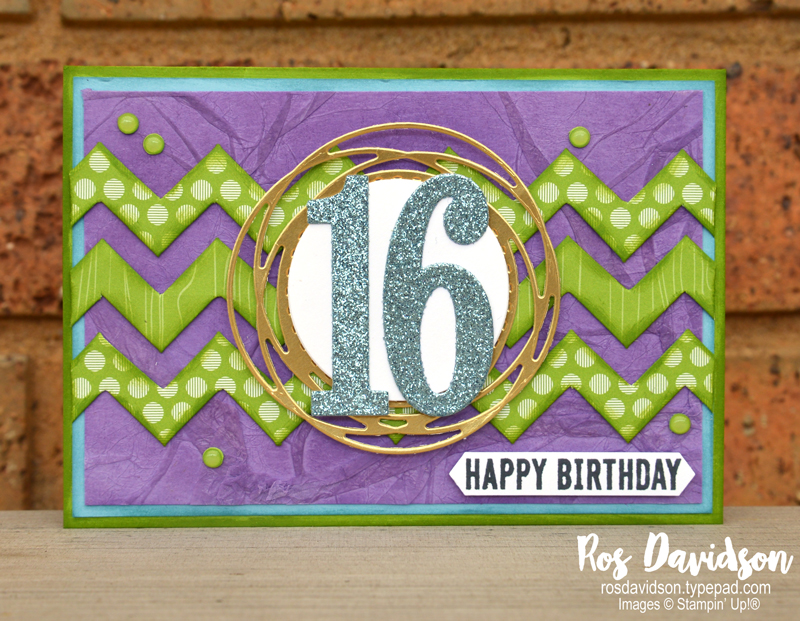 Stampin' Up, Colour Creations, Color Creations, Blog Hop, card, a grand kid, itty bitty birthdays, 16th birthday card, brights 6 x 6 designer series paper pack, stampin' cut and emboss, playful alphabet dies, layering circles dies, painted label dies, classic label punch, faux silk technique, chevron fold