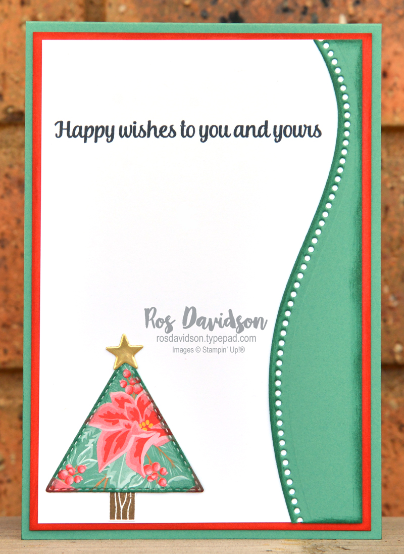 Stampin' Up! peace and joy bundle with tree angle stamp set and curvy dies. 2020 card by Ros Davidson, Stampin' Up! demonstrator Melbourne Australia.