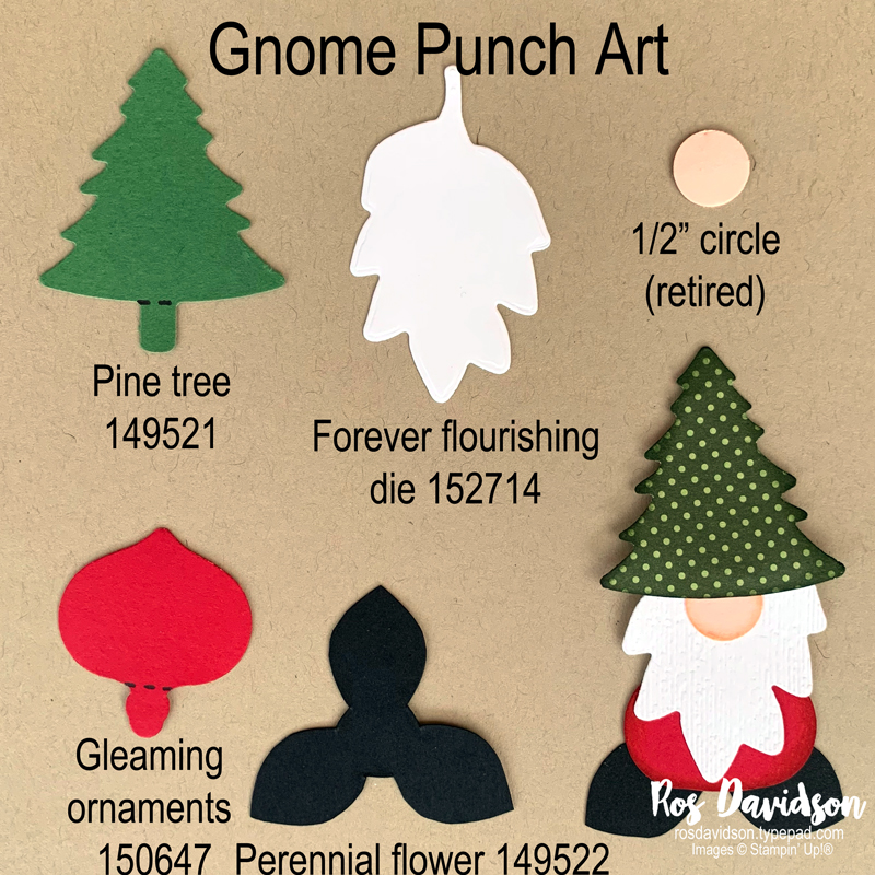 Stampin' Up! slimline gnome punch art Christmas card using playful alphabet dies. 2020 card by Ros Davidson, Stampin' Up! demonstrator Melbourne Australia.