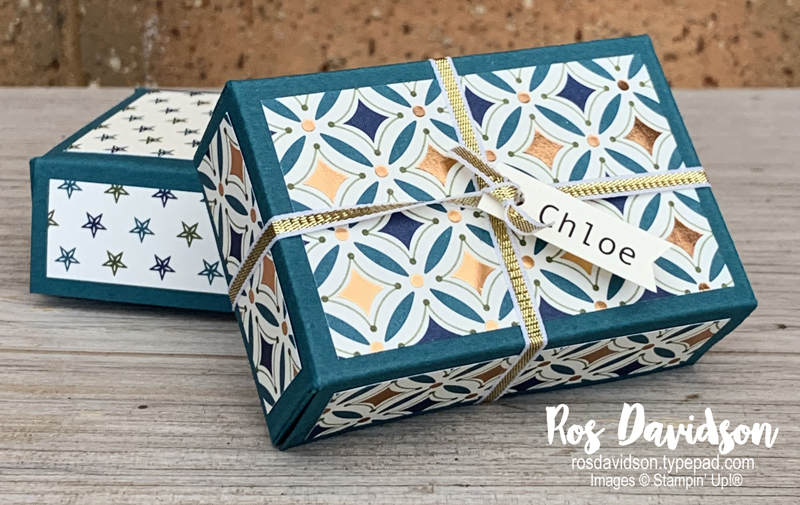Stampin' Up! last minute gift boxes with brightly gleaming specialty designer series paper. 2020 off the page box by Ros Davidson, Stampin' Up! demonstrator Melbourne Australia.