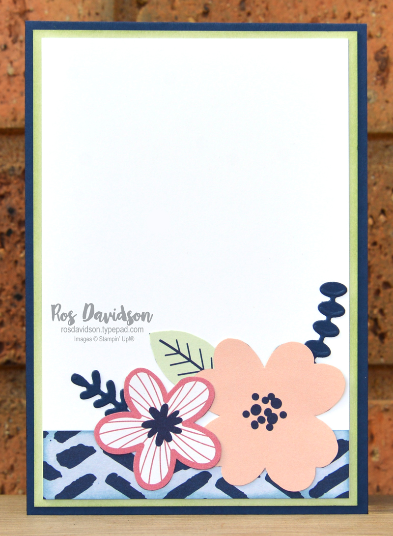 Stampin' Up! paper blooms fussy cutting card using free saleabration paper blooms designer series paper. 2021 card by Ros Davidson, Stampin' Up! demonstrator Melbourne Australia.