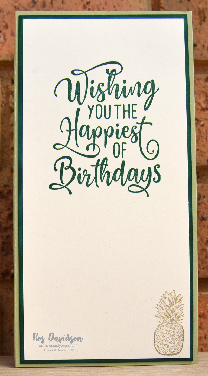 Stampin Up slimline tropics dies birthday card