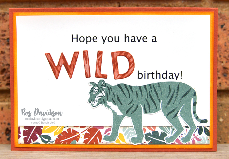 Stampin Up In the Wild DSP card, 2021 card by Ros Davidson, Stampin Up demonstrator Melbourne Australia.