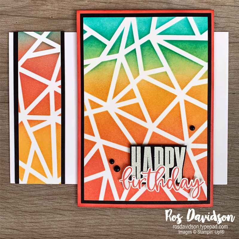 Stampin Up brilliant wish and plenty of patterns decorative mask birthday card. 2021 card by Ros Davidson Stampin Up demonstrator Melbourne, Australia.
