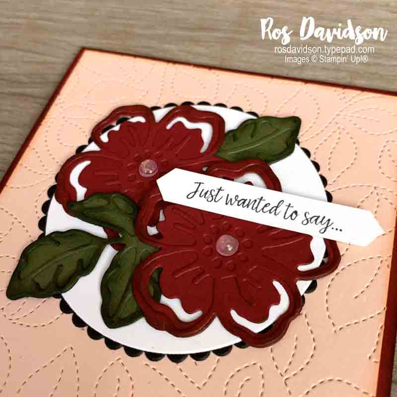 Stampin' Up!   Summer shadows dies   Just wanted to say card   Sale-a-bration 2021   card by Ros Davidson, Stampin' Up! demonstrator Melbourne Australia