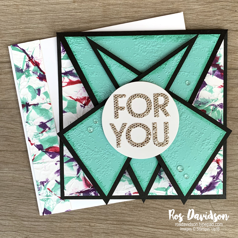 Stampin' Up! | Triple point card | For you card | Camouflage background technique | card by Ros Davidson, Stampin' Up! demonstrator Melbourne Australia