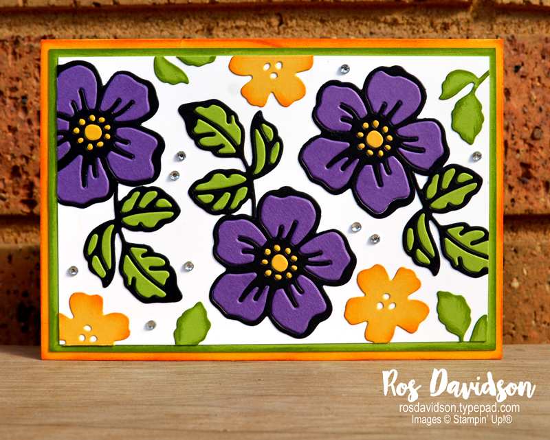 Stampin' Up! | Any occasion card | Inlaid embossing technique | Summer shadow dies | Sale-a-bration 2021 | card by Ros Davidson, Stampin' Up! demonstrator Melbourne Australia